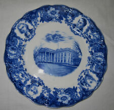 RARE  Founders of Our Republic Flow Blue Plate LS&S NY England Lewis Strauss