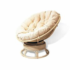 Lounge Papasan Rattan Wicker Chair EXTREMELY COMFY w/Cushion Cream