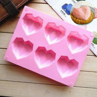 Silicone 3D Heart Shape Fondant Cake Chocolate Baking Mold Mould Modelling DIY#