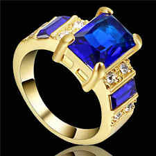 Jewelry Ring Size 6 Blue Sapphire Women's yellow Rhodium Plated Wedding Band