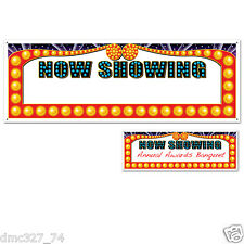"""HOLLYWOOD Movie Night Awards Party Decoration NOW SHOWING SIGN BANNER 60"""" x 21"""""""