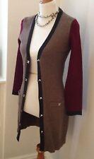 "Authentic CHANEL Brown ""CC"" Logo Cashmere Sweater Coat Jacket - 34"