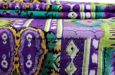 1 Yards Cotton Voile Hand Block Ikat Design Fabric Natural Dyes Sanganer Indian
