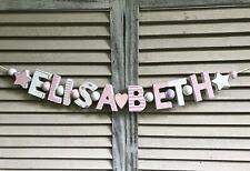 """""""ELISABETH"""" NAMENSKETTE ROSA KINDERZIMMER HOLZBUCHSTABEN DEKO BABY NAME SHABBY"""