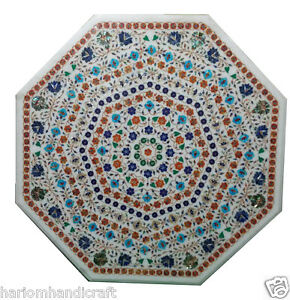 3'x3' Marble Dining Center Table Inlaid Multi Micro Mosaic Decorative Arts H969