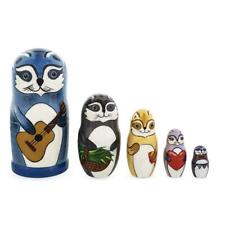 Set of 5 Raccoon Family Wooden Nesting Dolls 6 Inches