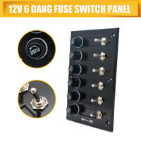 6 Gang ON-OFF Toggle Switch Panel 2USB Charger 12V For Car Boat Marine RV Truck