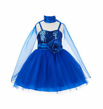 Wedding Pageant Sequin Flower girl dress Tulle Shawl Toddler Summer Party SH1508