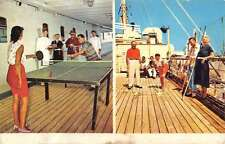 Home Lines Italia Cruise Ship Recreation Games Multiview Vintage Postcard K62813