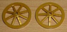 Lego Ritter 2 Kutschenräder in perl gold (33 mm D.)