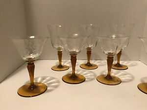 Vintage Cordial Liquor Aperitif Glass Set of 7 Amber Stem Floral Etched Glass