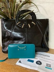 Kate Spade Aqua Leather Wallet With RARE Large Patent Leather Handbag