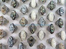 US SELLER-12pcs vintage seashell rings wholesale jewelry cheap bulk lot jewelry