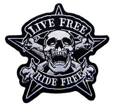 Big Skull Crossbones Live Free Ride Free Embroidered Iron on Patch Free Postage