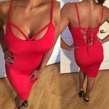 Connie's Semi Sheer Spaghetti Strap Red Midi Dress Corset Back look S