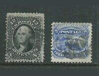 US Stamp 1860's . Washington 12 Cent Black With Grill & 3 Cent Stamp With Grill.