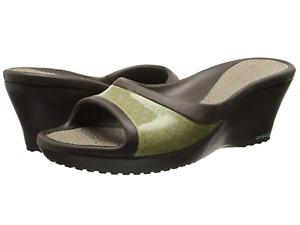 CROCS Women's Open Toe Wedges Sandals Rubber Shoes Espresso Mushroom Sz 11 WIDE