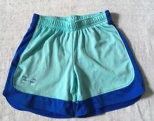 Girl's Under Armour Shorts Heatgear Aqua Green Blue Size YSM Loose S