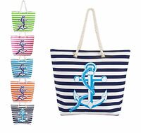 Swan Comfort Striped Anchor Tote Large Beach Pool Hand Bag with Rope Handles