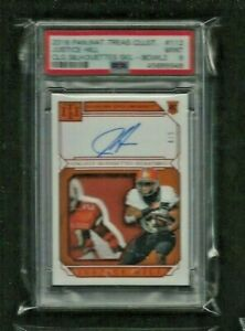 Justice Hill National Treasures BARRY SANDERS LOGO PATCH Auto RC #/5 PSA 9 MINT