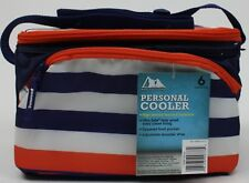 Arctic Zone Blue Striped Personal Cooler 6 Can & Ice Size: 9.5x6.8x6