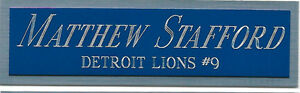 MATTHEW STAFFORD DETROIT LIONS NAMEPLATE FOR AUTOGRAPHED Signed Football JERSEY