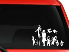 "Disney Nightmare Before Xmas Jack Skellington and Family decal sticker 7"" White"