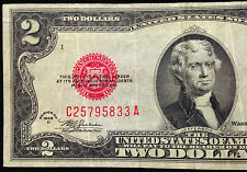 1928-D MULE $2 Two Dollar Bill Circulated US Currency, 1928D United States Note