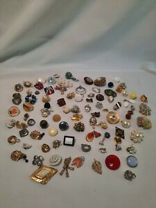 Mix Lot 90 + Clip-on Earrings Single & Damaged For Crafting Redesign
