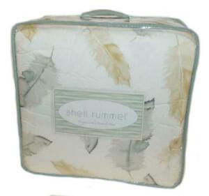 SHELL RUMMEL Feather 2P TWIN / TWIN XL COMFORTER SET Sand Blue Cream Watercolor