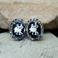 Vintage Silver Foil & Black Intaglio Square Dancers Rhinestone Clip On Earrings