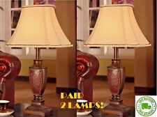 Pub Table Lamp Set of 2 Bistro Retro Antique Style Brushed Brown Old Vintage