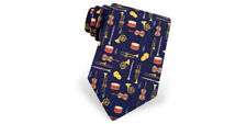 Navy Blue 100 % Silk Music Tie with Musical Instruments by Alynn, made in USA