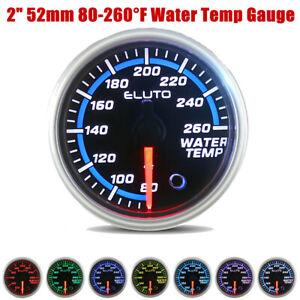 "52mm 2"" Car Water Temp Temperature Gauge Meter Fahrenheit 7 Color LED w/ Sensor"