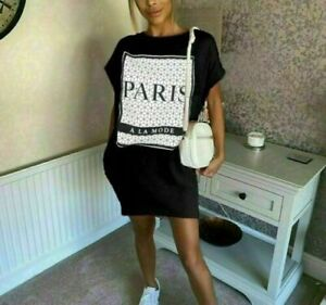 Ladies Paris A La Mode Dress Women's Slogan Printed Oversized Casual T-Shirt Top