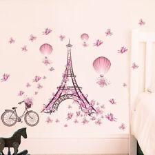 New Paris Eiffel Tower Pink Butterflies Kids Wall Sticker For Rooms #WE9
