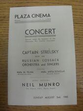 """02/08/1942 Guerra Mundial 2: en Plaza cine Gloucester, programa de conciertos"""", capitán"""