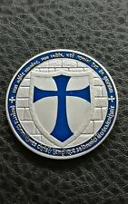 COLLECTABLE SILVER LAYERED MASONIC KNIGHT TEMPLAR COIN BLUE ENABLED SHIELD