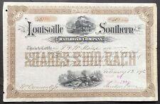 LOUISVILLE SOUTHERN RAILROAD CO Stock 1892 Louisville-Southern Kentucky ABNC VF+