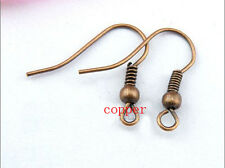 8 Colors 100pcs/lot Fashion Iron Ear Hook Wire Clasp With Bead Charms Earring