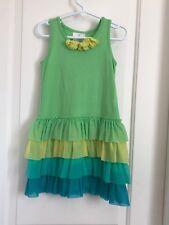 Hanna Andersson girls 110 5-6 multi color sleeveless tulle ruffled dress