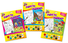 PAINT BY NUMBERS CHILDRENS KIDS HOME SCHOOL ART PAINTING BRUSH CRAFT ACTIVITY