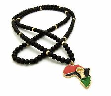 """NEW FIST POWER AFRICA PENDANT & 30"""" WOOD BEAD CHAIN HIP HOP NECKLACE - RC2594G"""