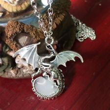 1X Unisex Luminous Dragon Charm Pendant Silver Necklace Glow In The Dark Jewelry