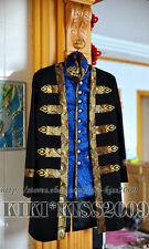 Military Uniform Vintage Victorian Black&Blue Wool Suit Jacket&Vest Custom-made