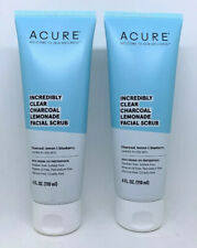 2 X Acure - Incredibly Clear Charcoal Lemonade Facial Scrub - 4 Oz EA. Sealed