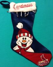 St. Louis Cardinals Christmas Stocking W Snowman & Bells Red White & Blue 18""