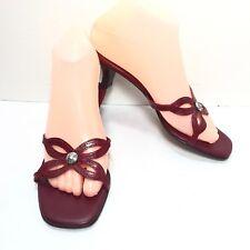 Womens BRIGHTON Burgundy Red Leather Jeweled Kitten Heel Mules Size 6.5 M