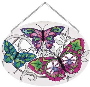 Joan Baker Stained Glass Window Hanger Suncatcher-LO196R- Stylized Butterflies