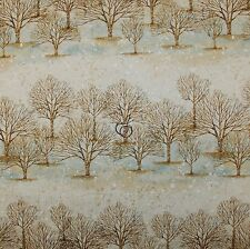 BonEful Fabric FQ Cotton Quilt VTG Cream Brown Winter Tree Blue Snowflake Stripe